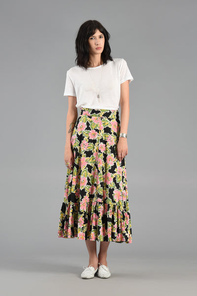 Happy 1940s Sketched Floral Maxi Skirt w/Ruffled Hem