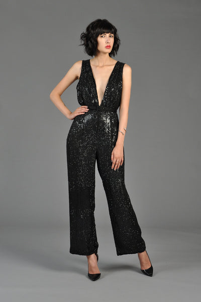 1980s Plunging Sequined Wide Leg Pantsuit