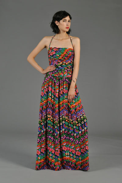 Cascading Floral Mosaic Ruched Maxi Dress