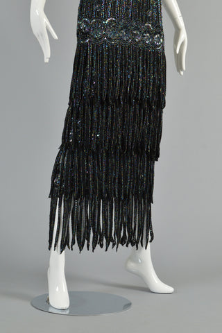 1980s Deco Inspired Beaded Fringe Maxi Dress