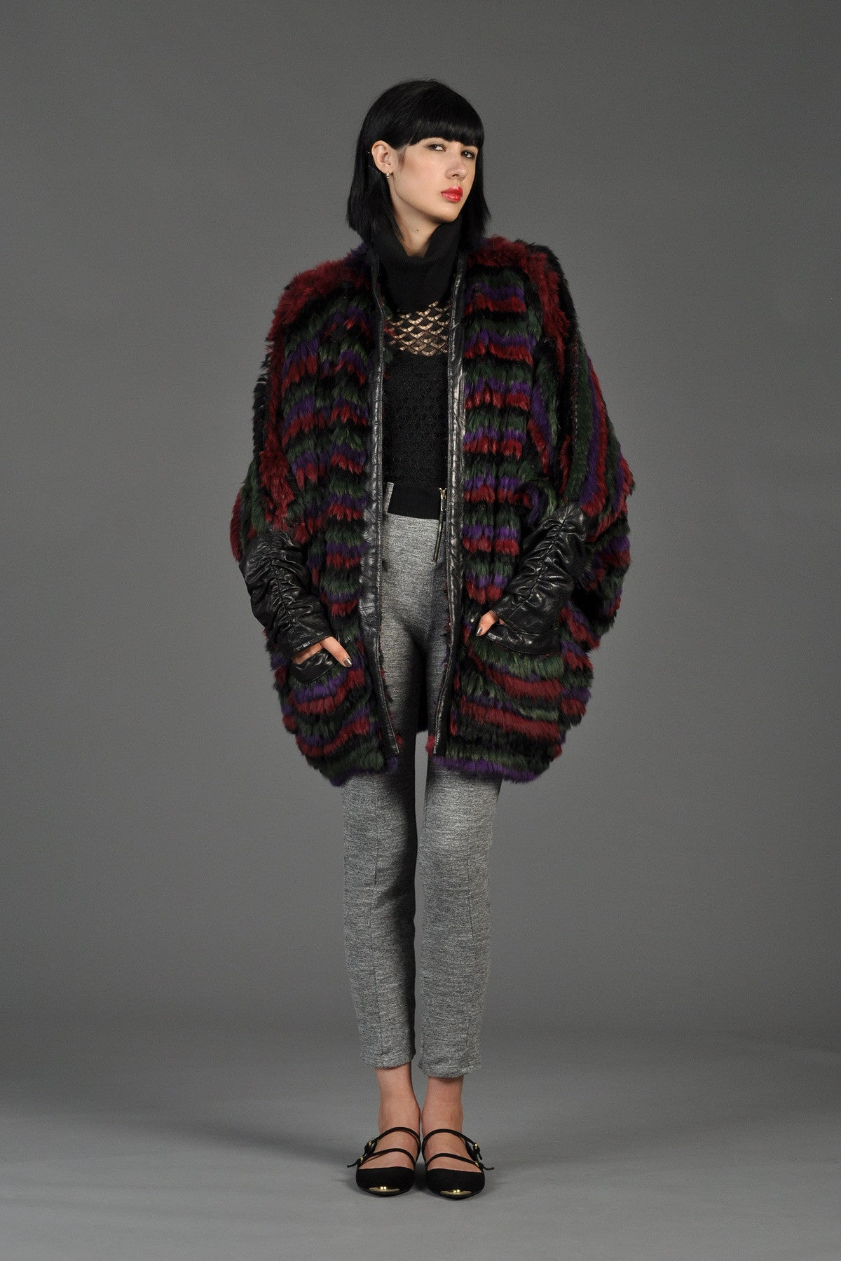 Striped Fox Fur   Knit Coat with Leather Sleeves | BUSTOWN MODERN