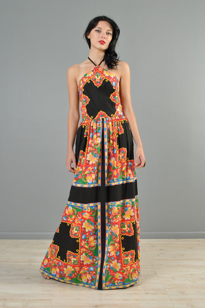 1970s Ethnic Cotton Halter Maxi Dress
