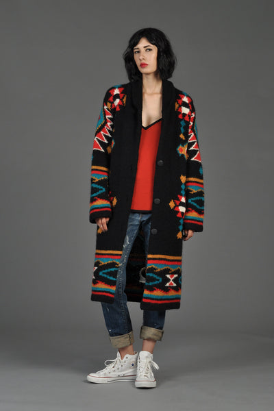 Southwestern Hand-Knit Mohair Cardigan