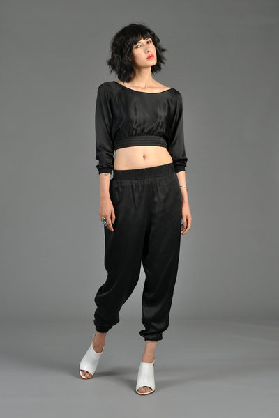 Black 1980s Silk Crop Top + Pant Ensemble