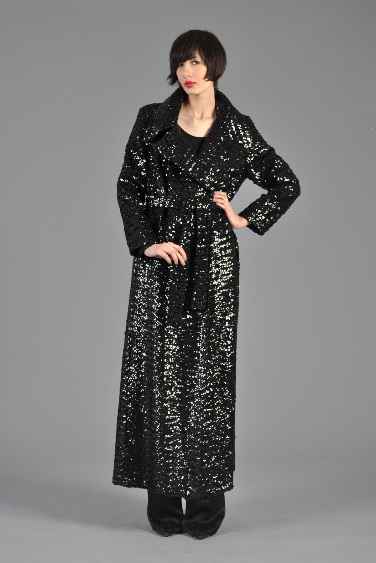 Black Sequin Belted Maxi Trench Coat Bustown Modern