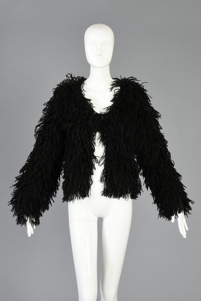 Early 80s Fringed Open Weave Knit String Jacket