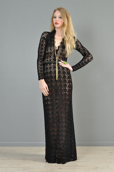 Black 1970s Hand Crocheted Plunging Maxi Gown