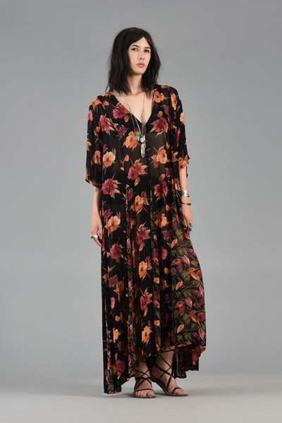 1990s Sheer Gauze Floral Tent Dress