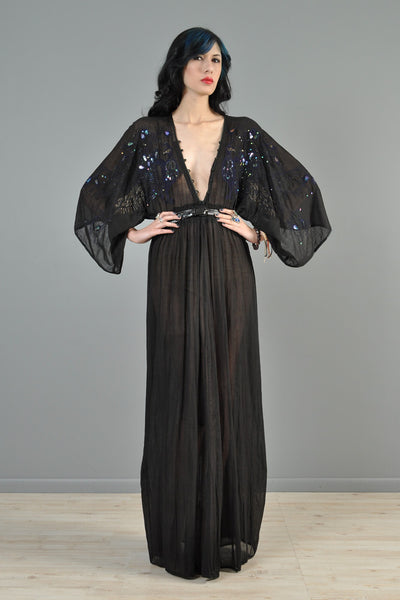 Beaded + Embroidered Peacock Plunging Gauze Maxi Gown