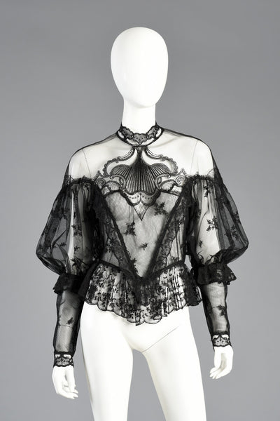 Unreal 1970s Sheer Lace Victoriana Blouse