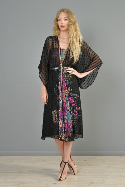 Sheer 1970s Metallic Silk Dress with Kimono Sleeves & Florals