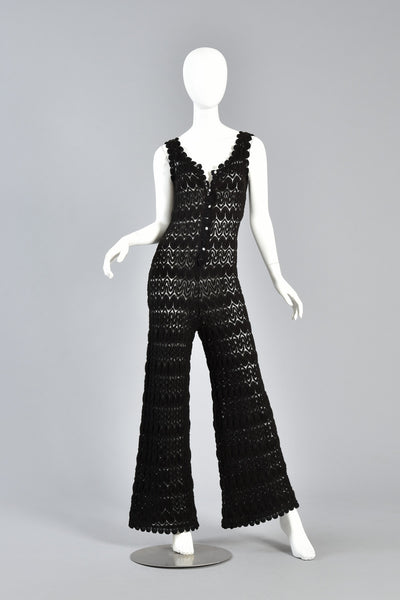 1960s Black Crochet Jumpsuit w/Bell Bottoms