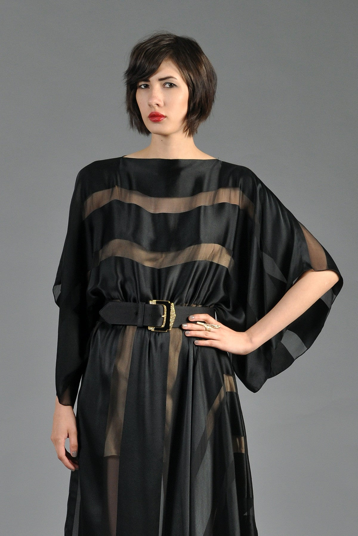 Sheer Black Silk Striped Dress with Kimono Sleeves | BUSTOWN MODERN