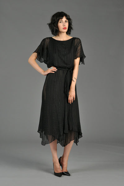 Sheer Silk Striped Midi Dress With Handkerchief Hem