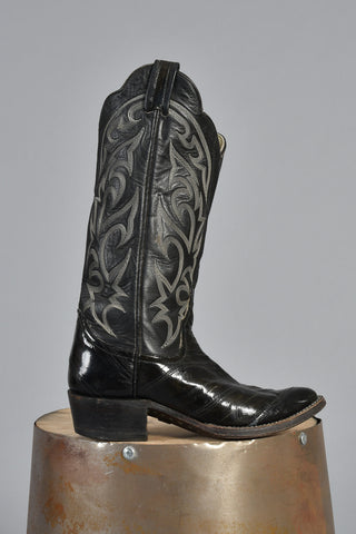 Black 70s Flame Stitched Leather Cowboy Boots 6.5