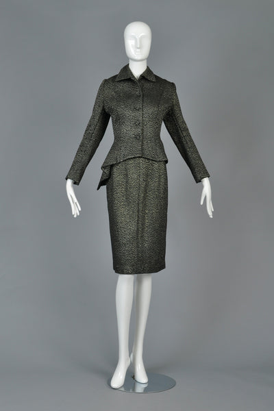1940s Metallic Asymmetrical Peplum Suit