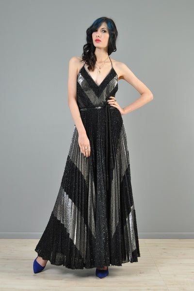 Metallic Silver + Black 1970s Pleated Maxi Gown