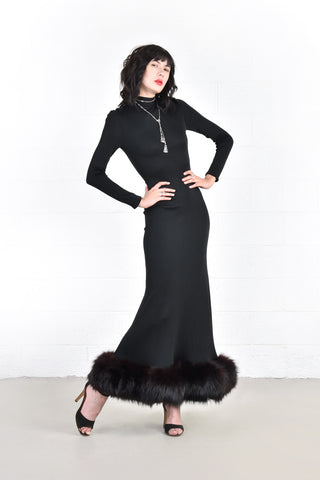 Odelia Slinky Black Maxi Dress with Fox Fur Trim