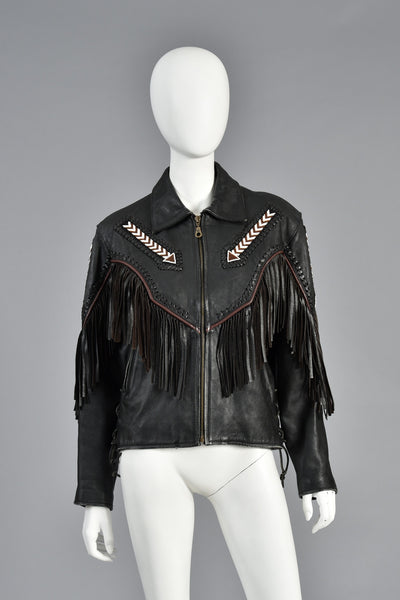 Beaded + Fringed Southwestern Leather Biker Jacket