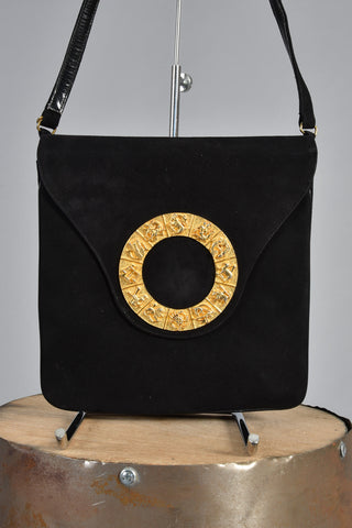 Black 60s Adjustable Handbag w/Gold Metal Zodiac Motif