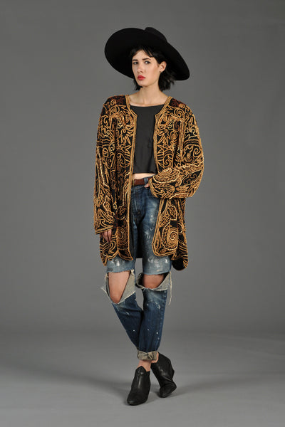 Wood Beaded Draped Silk Scalloped Jacket