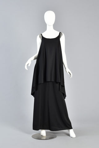70s Tiered Grecian Draped Maxi Dress w/Beaded Shoulders