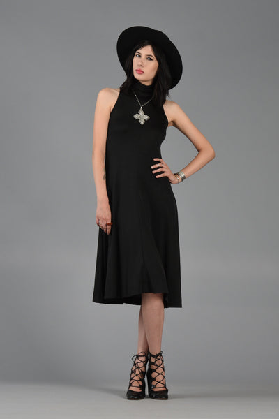 1970s Little Black Dress with High Neck