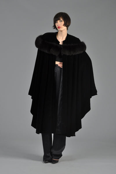 Velvet + Fox Fur Draped Cape