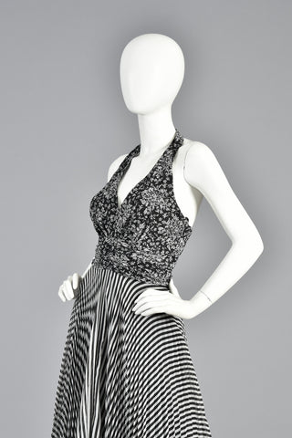1970s Black + White Graphic Op Art Floral + Striped Gauze Maxi Dress