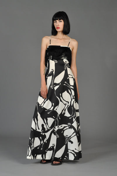 Graphic B + W Giraffe Print Maxi Dress with Fringe