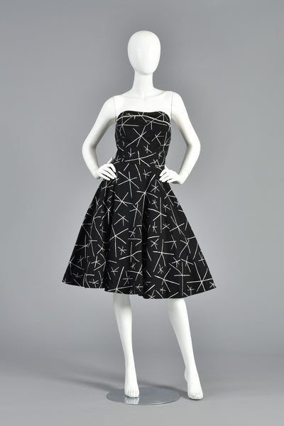 50s Monochrome Novelty Print Party Dress w/Asterisk Pattern