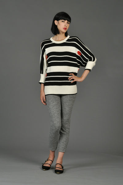 1980s Black + White Graphic Matchstick Sweater