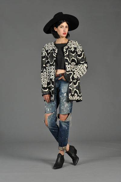 B+W Beaded Embroidered Honeycomb Jacket