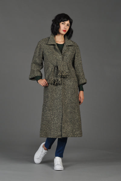 1960s I Magnin Tie Front Tweed Coat