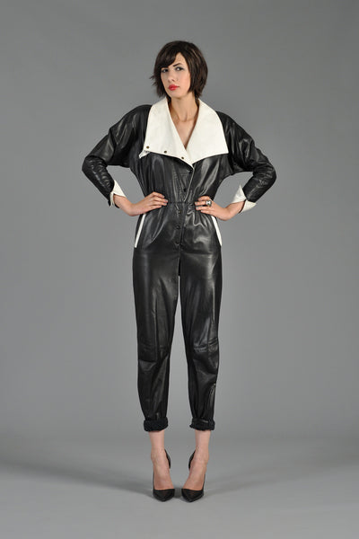 1980s Black and White Avant Garde Leather Jumpsuit