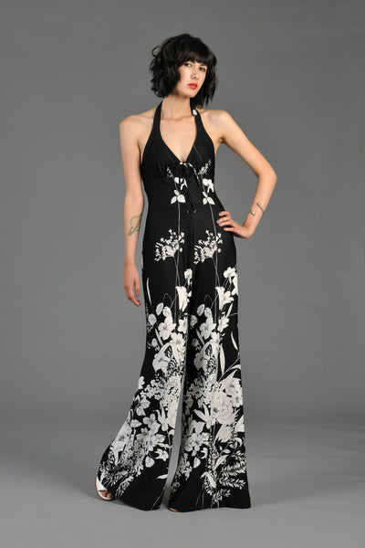 B+W Cascading Floral Backless Halter Jumpsuit