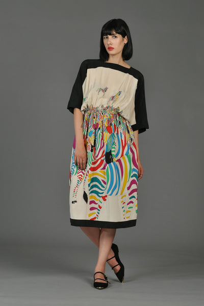 Black + White Silk Dress with Graphic Rainbow Zebras