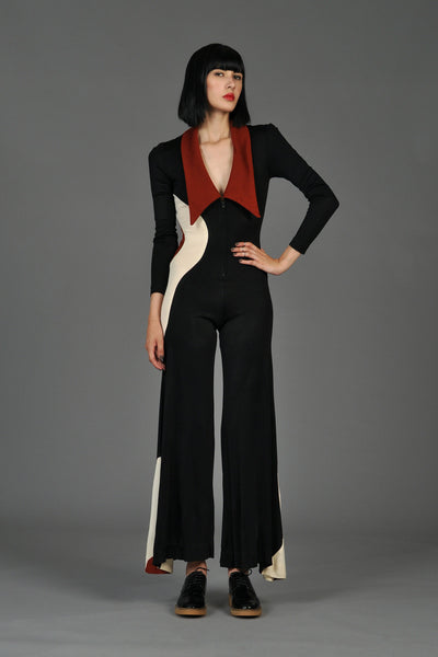 Graphic Mod Circle Zip Front Bell Bottom Jumpsuit