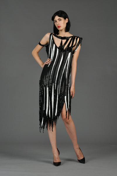 1980s B + W Silk Beaded Dress with Open Shoulders