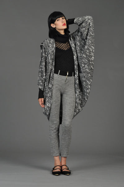 Graphic Black + White Avant Garde Cocoon Jacket