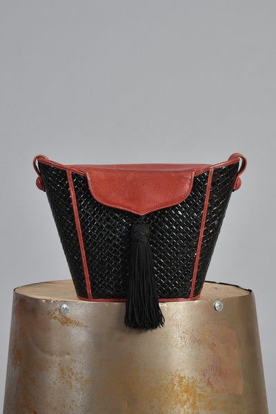 1960s Woven Bucket Bag with Tassel