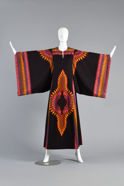 Stunning 70s Ethnic Cotton Graphic Caftan w/Kimono Sleeves