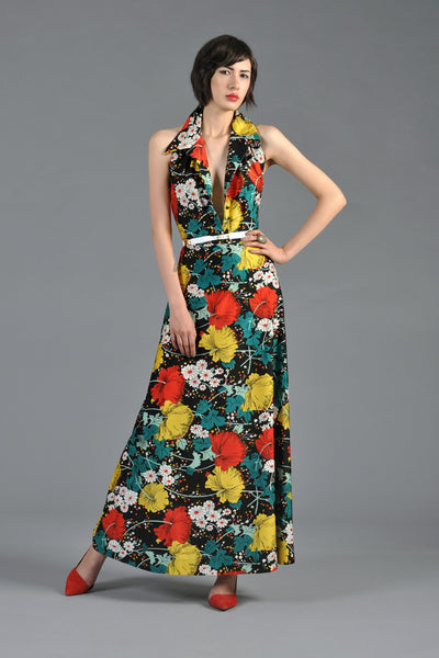 Graphic 1970s Backless Floral Maxi Dress w/Plunging Neckline