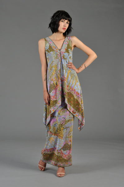 Tiered 1970s Silk Maxi Dress with Ethereal Forest Print
