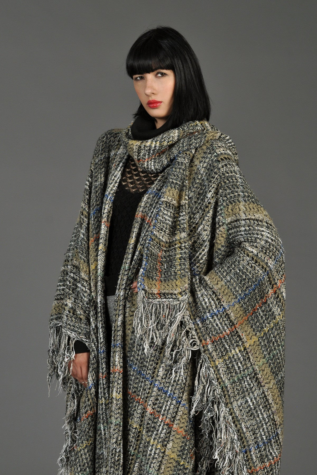 1970s Woven Shaggy Blanket Coat With Scarf Bustown Modern