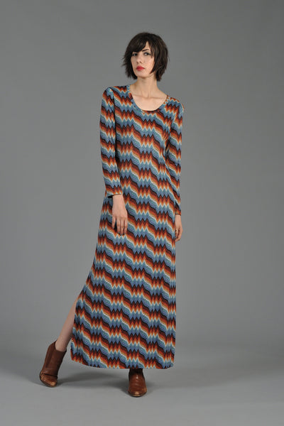 Graphic 1970s Heartbeat Maxi Dress with Side Slit