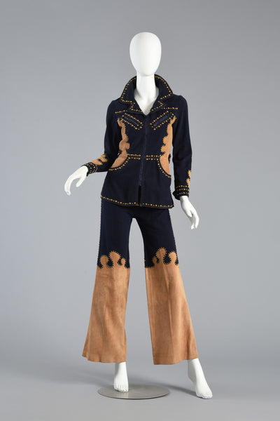 1970s Roncelli Studded Leather + Denim Suit