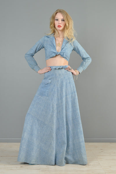 1970s Chambray 2-Piece Skirt + Top