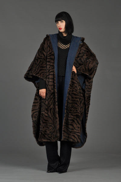 Reversible Striped Fur + Denim Hooded Cape