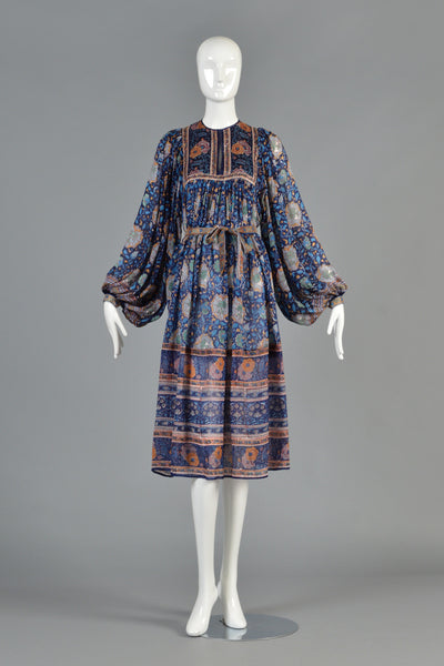 70s Bohemian Indian Silk Tent Dress w/Blouson Sleeves